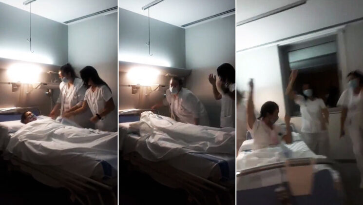 Empleadas de un hospital en España bailan t
